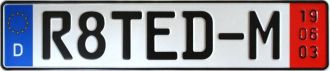 German Export Zoll Plate R8TED-M