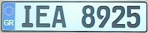 Greece License Plate