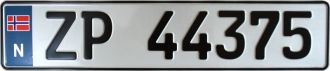 Norway License Plate ZP 44375